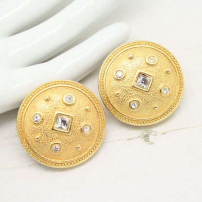 Vintage Byzantium Style Round Monet Clip On Earrings