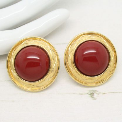 Vintage Monet Terracotta Brown Cabochon Clip On Earrings