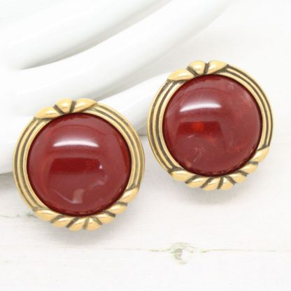 1980s Vintage Monet Red Cabochon Clip On Earrings