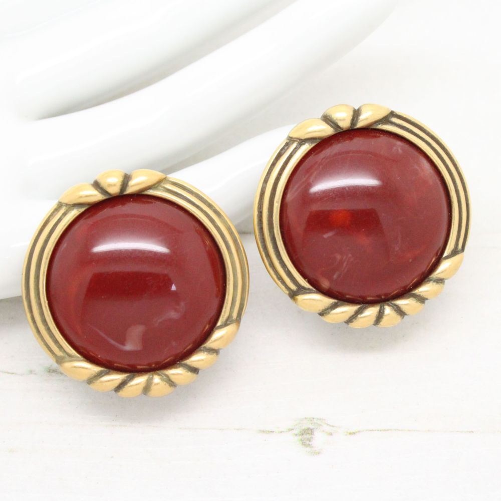 Vintage Monet\u00a9 Gold Tone and Large Red Cabochon Clip Earrings Retro