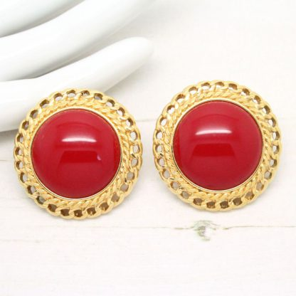 1980s Vintage Button Round Red Monet Clip On Earrings