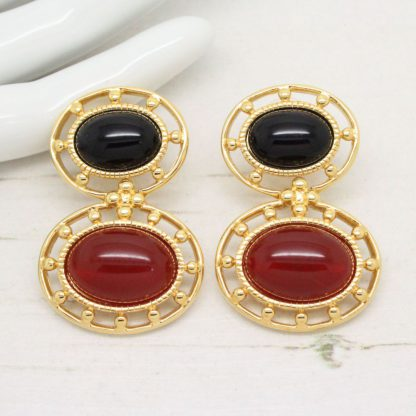 Monet 1980s Vintage Black Cabochon Drop Earrings