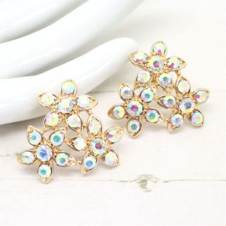 Vintage Inspired Rhinestone Crystal Flower Earrings