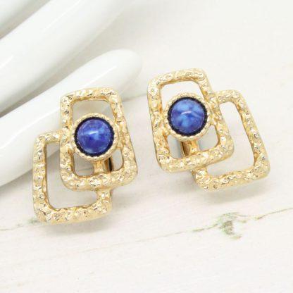 Sarah Coventry Lapis Lazuli Modernist Clip On Earrings