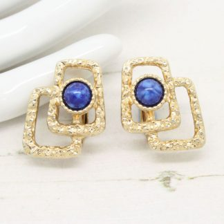 Sarah Coventry Lapis Lazuli Modernist Clip On Earrings