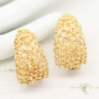 1970s Sarah Coventry Demi-Hoop Textured Gold Clip On Earrings