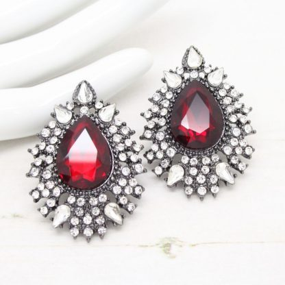 Statement Jewel Red Vintage Inspired Earrings