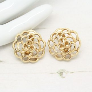 Petite Fleur Sarah Coventry Gold Rose Clip On Earrings