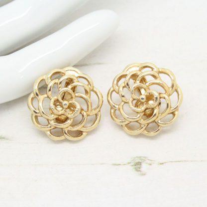 Petite Fleur Sarah Coventry Gold Rose Clip On Earrings