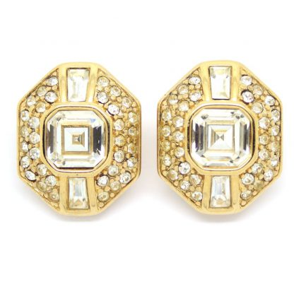Elegant Art Deco Revival Crystal Earrings by Monet