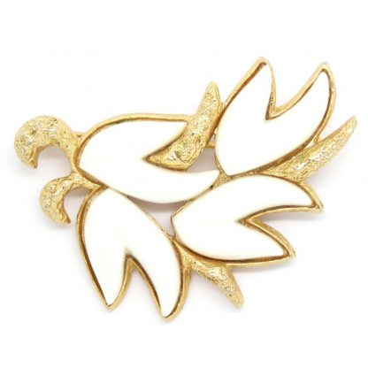 Vintage Monet White Thermoset Leaf Brooch
