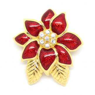 1980s Monet Red Gloss Enamel Flower Brooch