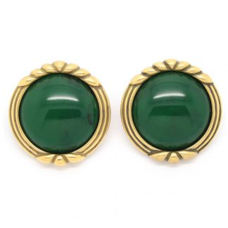 Vintage Monet Green Cabochon Antique Gold Clip On Earrings