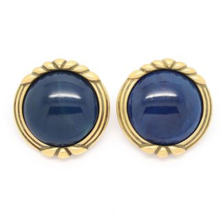 1980s Vintage Monet Blue Marble Cabochon Clip On Earrings