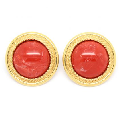 1980s Vintage Monet Statement Round Clip On Earrings