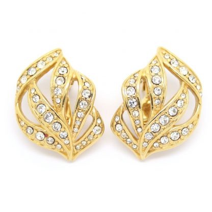 Monet Decorative Gold Plated Swarovski Clip On Earrings