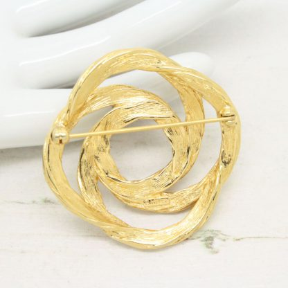 Vintage Signed Monet Modernist Gold Plated Brooch