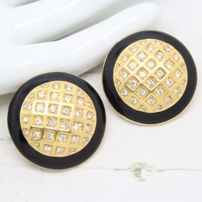 Black Enamel & Crystal Set Round Monet Earrings