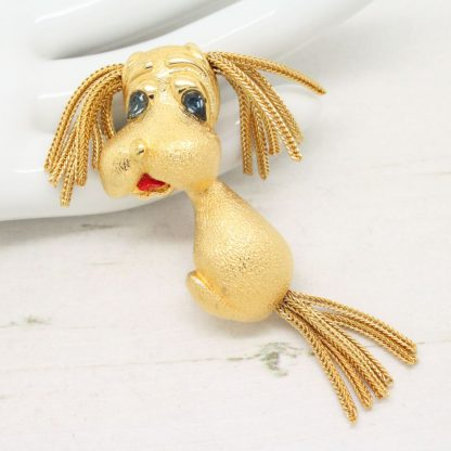 Signed Designer Monet Cute Puppy Tassel Brooch Pin