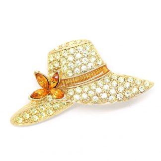 Signed Monet Pave' Rhinestones Hat Brooch Pin