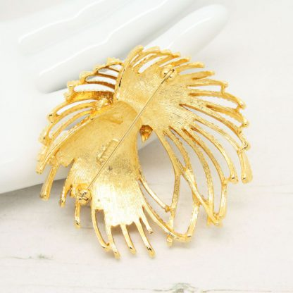 Vintage 1960s Monet Textured Flourish Gold Brooch