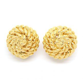 1960s Vintage Monet Woven Round Earrings
