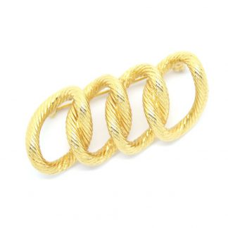 Textured Golden Curb Link Signed Monet Vintage Brooch