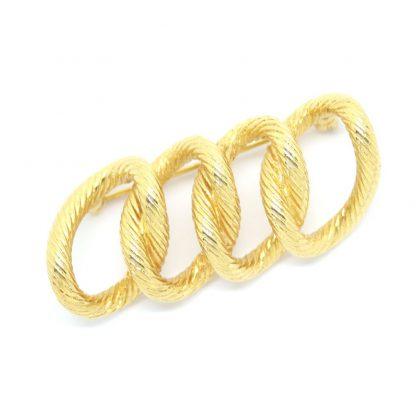 Textured Golden Curb Link Signed Monet Vintage Brooch
