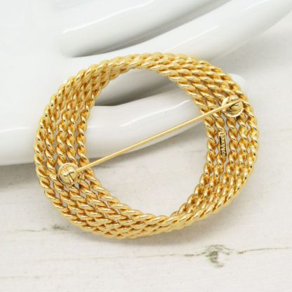 Golden 1970s Vintage Monet Wreath Brooch Pin
