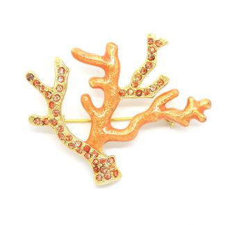 Monet Vintage Peach Enamel & Rhinestone Crystal Coral Style Brooch Pin