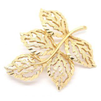Vintage 1960s Sarah Coventry Golden Harvest Leaf Brooch Pin