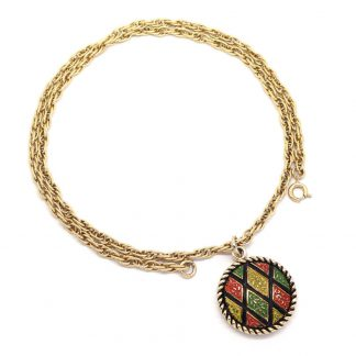 1970s Mosaic Sarah Coventry Gold Red Yellow Disc Necklace