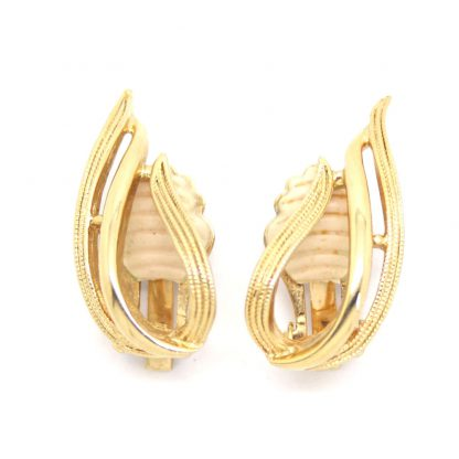 1960s Mid Century Modern Wave Gold Plated Sarah Coventry Earrings