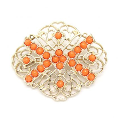 1970s Vintage Gold Filigree Tangerine Sarah Coventry Brooch