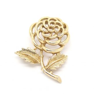 1960s Vintage Sarah Coventry Gold Petite Fleur Rose Flower Brooch Pin