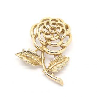 1960s Vintage Sarah Coventry Gold Petite Fleur Rose Flower Brooch Pin