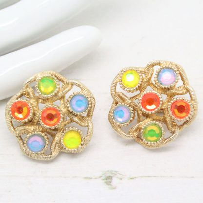 1970s Moon Lites Multi Colour Sarah Coventry Vintage Clip On Earrings