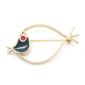 Vintage Modernist Enamel Fish Sarah Coventry Brooch