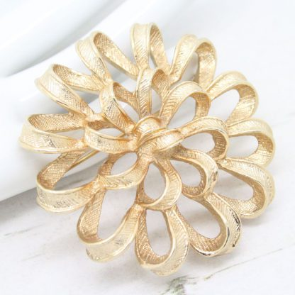 Vintage Gold Ribbon Corsage Sarah Coventry Brooch
