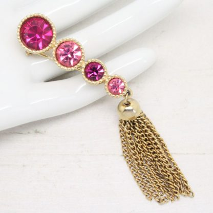 1960s Saucy Pink Rhinestone Tassel Drop Sarah Coventry Brooch