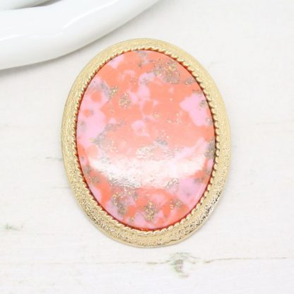 1970s Coraline Orange Cabochon Sarah Coventry Brooch