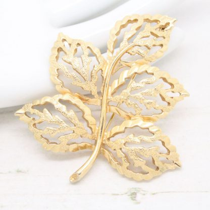 1960s Golden Harvest Statement Leaf Sarah Coventry Brooch