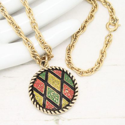 1970s Mosaic Enamel Diamond Pendant Sarah Coventry Necklace