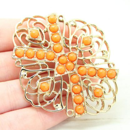 1970s Tangerine Cabochon Gold Filigree Sarah Coventry Brooch