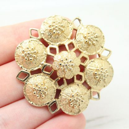 1970s Vintage Fashion Rite Ornate Shield Sarah Coventry Brooch