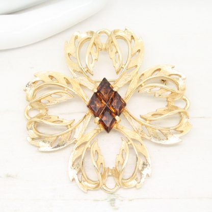 Statement Vintage Heritage Diamond Topaz Sarah Coventry Brooch