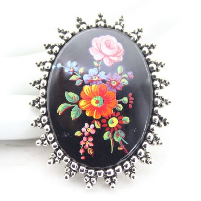 Painted Floral Sarah Coventry Black Cameo Brooch