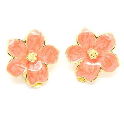 1980s Vintage Peach Enamel Flower Clip On Earrings