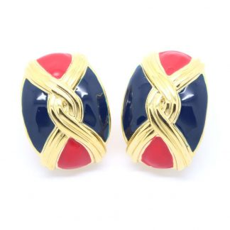 Statement 1980s Vintage Red and Blue Enamel Clip On Earrings