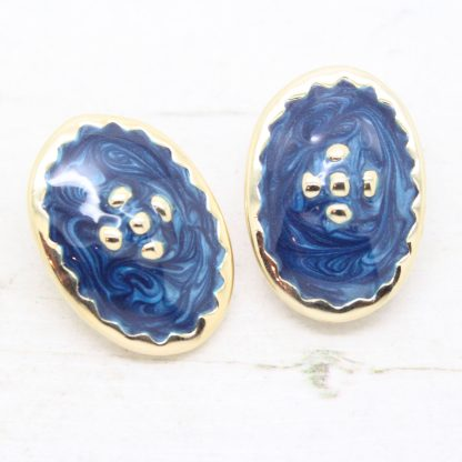 1980s Vintage Blue Enamel Dotty Oval Clip On Earrings